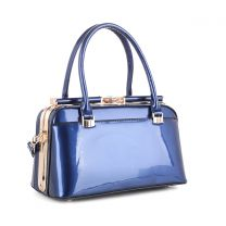 87854 PATENT FAUX LEATHER JEWEL-TOP FRAME SATCHEL NAVY