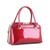 87854 PATENT FAUX LEATHER JEWEL-TOP FRAME SATCHEL RED