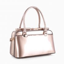 87854 PATENT FAUX LEATHER JEWEL-TOP FRAME SATCHEL ROSE GOLD