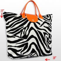 FOLDING ZEBRA PRINT TOTE BAG
