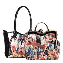 AA-6450W THE OBAMAS DéCOR MAGAZINE COVER COLLAGE 2-in-1 HANDBAG SET MULTI