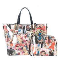 AA-7304W THE OBAMAS DéCOR MAGAZINE COVER DOUBLE HANDLE 3-IN-1 TOTE BAG SET MULTI