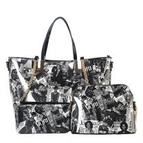 AA-7304W THE OBAMAS DéCOR MAGAZINE COVER DOUBLE HANDLE 3-IN-1 TOTE BAG SET BLK/WHT