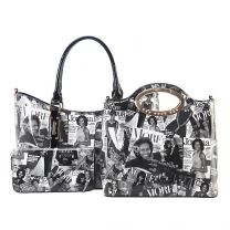 AA-7306W THE OBAMAS DéCOR MAGAZINE COVER COLLAGE 3-IN-1 HANDBAG SET BLK/WHT