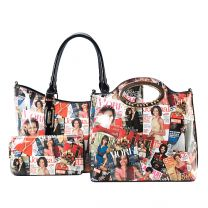 AA-7306W THE OBAMAS DéCOR MAGAZINE COVER COLLAGE 3-IN-1 HANDBAG SET MULTI