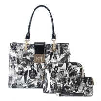 AA-7309W THE OBAMAS DéCOR MAGAZINE COVER COLLAGE 3-IN-1 TOTE BAG BLK/WT