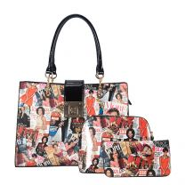 AA-7309W THE OBAMAS DéCOR MAGAZINE COVER COLLAGE 3-IN-1 TOTE BAG MULTI