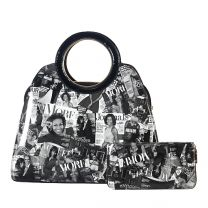 AA-8001W THE OBAMAS DéCOR MAGAZINE COVER 2-IN-1 SATCHEL SET BLK/WHT