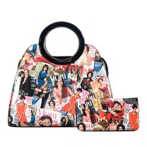 AA-8001W THE OBAMAS DéCOR MAGAZINE COVER 2-IN-1 SATCHEL SET MULTI
