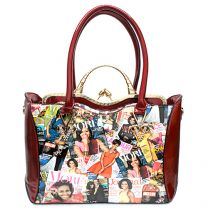 AA-6450W THE OBAMAS DéCOR MAGAZINE COVER COLLAGE 2-in-1 HANDBAG SET RED
