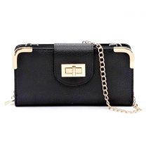AD041 FASHION TURN-LOCK ACCENT CROSSBODY WALLET w/LONG STRAP~BLACK