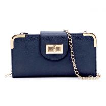 AD041 FASHION TURN-LOCK ACCENT CROSSBODY WALLET w/LONG STRAP~NAVY