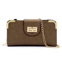 AD041 FASHION TURN-LOCK ACCENT CROSSBODY WALLET w/LONG STRAP~TAUPE