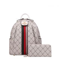 BE4S-8081W 2-in-1 FASHION STRIPED QUEEN BEE ACCENT BACKPACK AND WALLET SET~WHITE