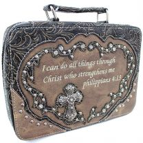 BI221 Bible Cover w/Rhinestone Cross w/Bible Verse