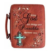 BL13502ALL BIBLE VERSE SPIRITUAL TURQUOISE CROSS BIBLE COVER BROWN