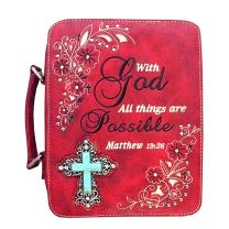 BL13502ALL BIBLE VERSE SPIRITUAL TURQUOISE CROSS BIBLE COVER RED