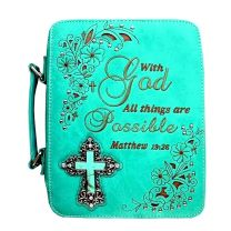 BL13502ALL BIBLE VERSE SPIRITUAL TURQUOISE CROSS BIBLE COVER TURQUOISE