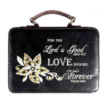BL13502W102-LOVE BIBLE VERSE EMBROIDERED BIBLE COVER~BLACK