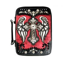 BL13502W114LCR BIBLE COVER w/RHINESTONE CROSS RED