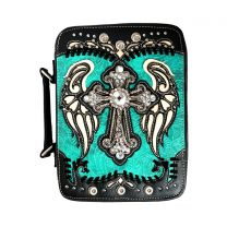 BL13502W114LCR BIBLE COVER w/RHINESTONE CROSS TURQUOISE