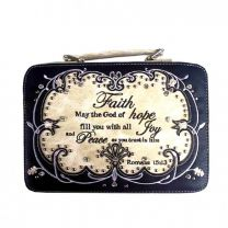 BL13502W115-FAITH BIBLE VERSE EMBROIDERED BIBLE COVER~BLACK