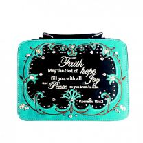 BL13502W115-FAITH BIBLE VERSE EMBROIDERED BIBLE COVER~TURQUOISE