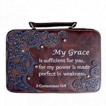BL13502W151 BIBLE VERSE EMBROIDERED BIBLE COVER~BROWN