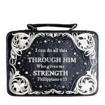 BL13502W159 BIBLE VERSE EMBROIDERED BIBLE COVER~BLACK