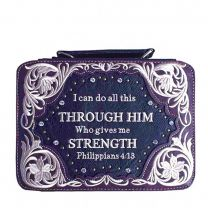 BL13502W159 BIBLE VERSE EMBROIDERED BIBLE COVER~PURPLE