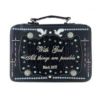 BL13502W165ALL BIBLE VERSE SPIRITUAL BIBLE COVER BLACK