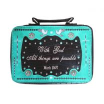 BL13502W165ALL BIBLE VERSE SPIRITUAL BIBLE COVER TURQUOISE