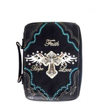 BL13502W170LCR BIBLE COVER w/RHINESTONE CROSS~BLACK