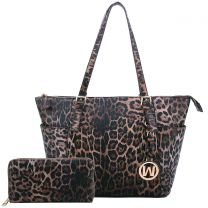LE1009W LEOPARD TEXTURED SHOPPER TOTE BAG w/MATCHING WALLET~BROWN