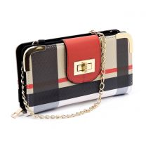 BT041 PLAID CHECK PRINT TURN-LOCK ACCENT SIGNATURE WALLET w/LONG STRAP~RED