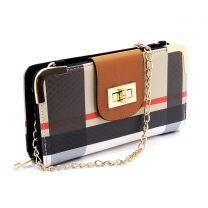 BT041 PLAID CHECK PRINT TURN-LOCK ACCENT SIGNATURE WALLET w/LONG STRAP~TAN