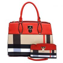 BT2690 PLAID CHECK PRINT PADLOCK 2-in-1 SATCHEL~RED