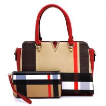 BT2750 PLAID CHECK PRINT V ACCENT 2-in-1 SATCHEL & WALLET SET~RED