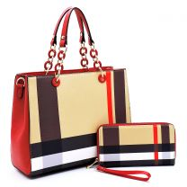 BT2757 PLAID CHECK PRINT 2-in-1 SATCHEL~RED