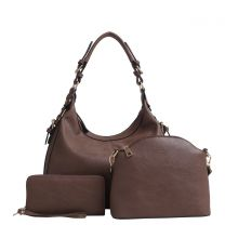 C514170LS CHLOE 3Pc CONCEALED CARRY HOBO SE w/MATCHING WALLET and CROSSBODY~BROWN