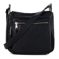 C5806 CONCEALED CARRY MULTIFUNCTION CROSSBODY BAG~BLACK