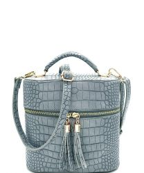 CL095 Croc Print Tassel Accent Top-handle Medium Satchel Grey