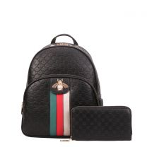 CR-8650W FASHION STRIPED QUEEN BEE ACCENT BACKPACK WALLET SET~BLACK