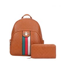 CR-8650W FASHION STRIPED QUEEN BEE ACCENT BACKPACK WALLET SET~BROWN