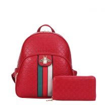 CR-8650W FASHION STRIPED QUEEN BEE ACCENT BACKPACK WALLET SET~RED
