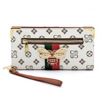 CS036B QUEEN BEE MONOGRAMMED STRIPE CLUTCH WRISTLET WALLET~IVORY/TAN