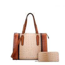 CY7187W FASHION 2-in-1 ALLIGATOR CROC SATCHEL SET w/WALLET~BEIGE