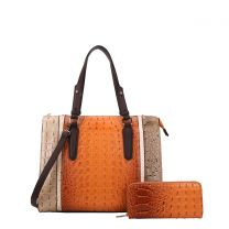 CY7187W FASHION 2-in-1 ALLIGATOR CROC SATCHEL SET w/WALLET~BROWN