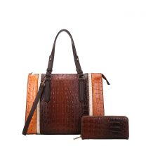 CY7187W FASHION 2-in-1 ALLIGATOR CROC SATCHEL SET w/WALLET~COFFEE