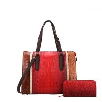 CY7187W FASHION 2-in-1 ALLIGATOR CROC SATCHEL SET w/WALLET~RED